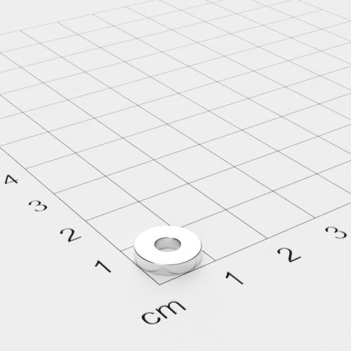 Neodym Ringmagnet, 10x2mm mit 3.7mm Bohrung, vernickelt, Grade N45EH
