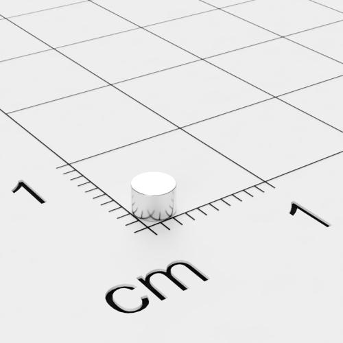 Neodym Scheibenmagnet, 3x2 mm, vernickelt, Grade N48
