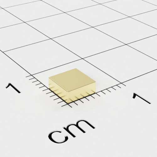 Neodym Quadermagnet, 5x5x2mm, vergoldet, Grade N45