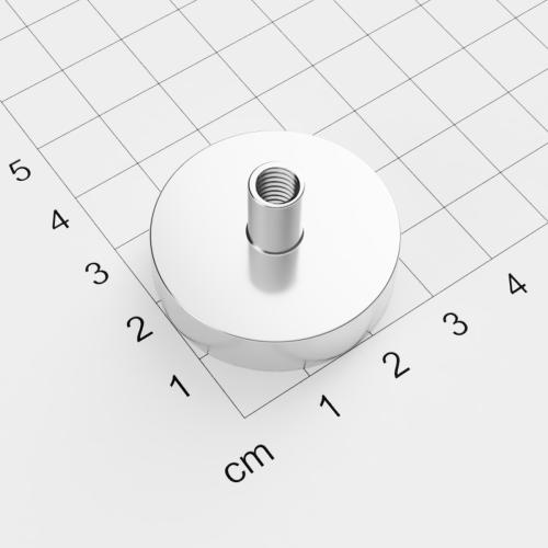 Topfmagnet mit Innengewinde, D=32mm, H=8mm, vernickelt, Grade N35, Gewinde M6