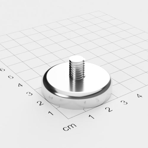 Topfmagnet mit Außengewinde, D=36mm, H=8mm, vernickelt, Grade N35, Gewinde M8