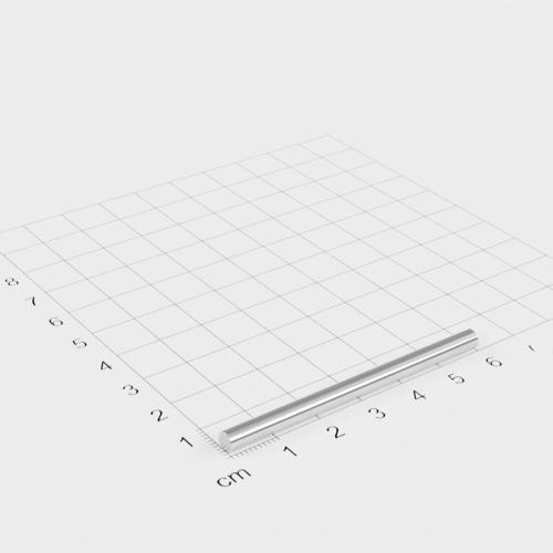 Neodym Stabmagnet, 4x60mm, vernickelt, Grade N45