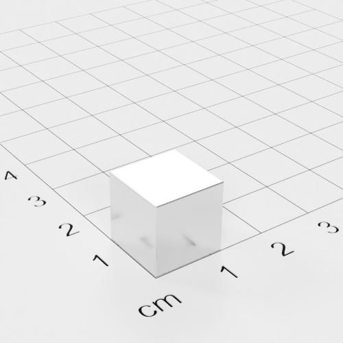 Neodym Würfelmagnet, 12x12x12mm, vernickelt, Grade N48