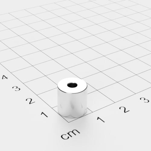 Neodym Ringmagnet, 10x10mm mit 3.1mm Bohrung, vernickelt, Grade N45