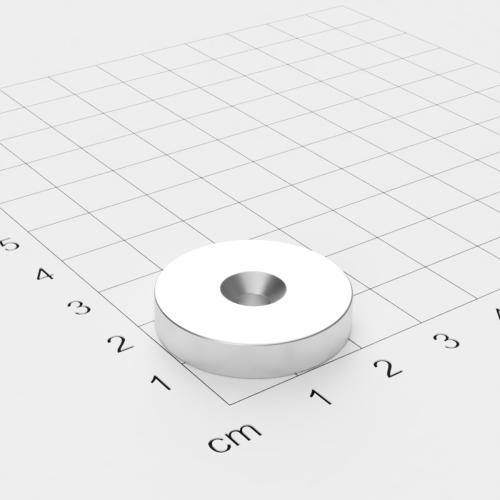 Neodym Scheibenmagnet mit Bohrung und Senkung, 25x5mm, 4.2mm Bohrung, vernickelt, Grade N45