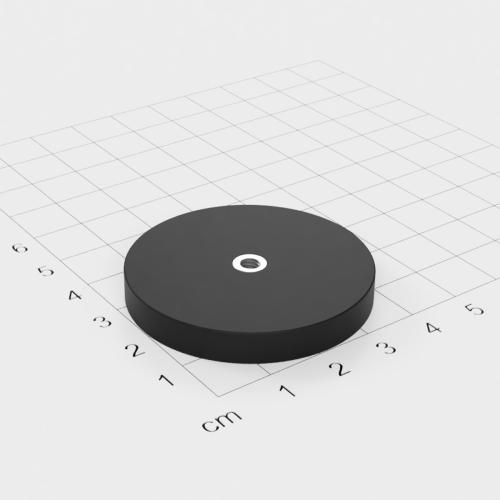 Magnetsystem mit Innengewinde, D=43mm, H=6mm, gummiert, Grade N35, Gewinde M4