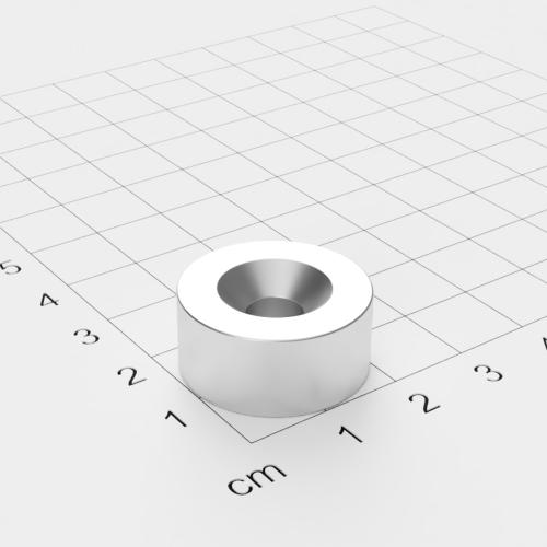 Neodym Scheibenmagnet mit Bohrung und Senkung, 22x10mm, 6.5mm Bohrung, vernickelt, Grade N52