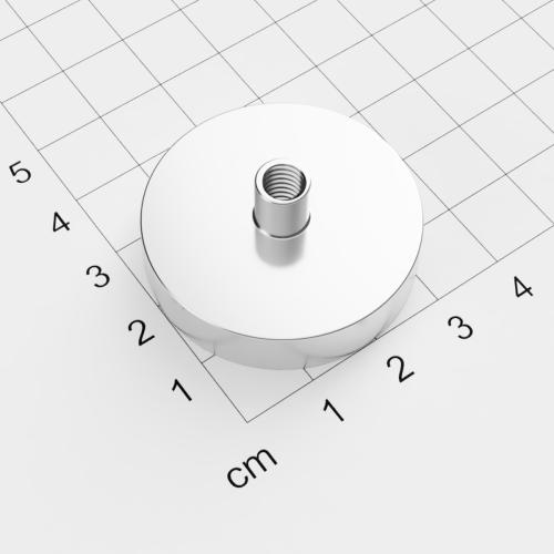 Topfmagnet mit Innengewinde, D=36mm, H=8mm, vernickelt, Grade N38, Gewinde M6