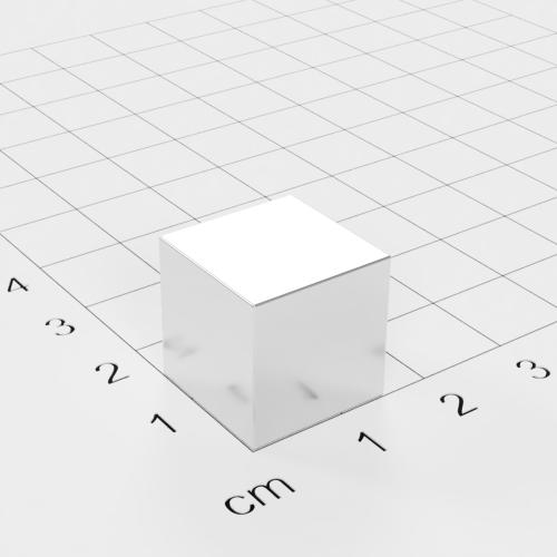 Neodym Würfelmagnet, 15x15x15mm, vernickelt, Grade N42