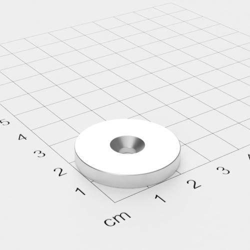 Neodym Scheibenmagnet mit Bohrung und Senkung, 27x4mm, 4.5mm Bohrung, vernickelt, Grade N40