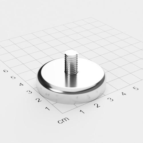 Topfmagnet mit Außengewinde, D=42mm, H=9mm, vernickelt, Grade N35, Gewinde M8