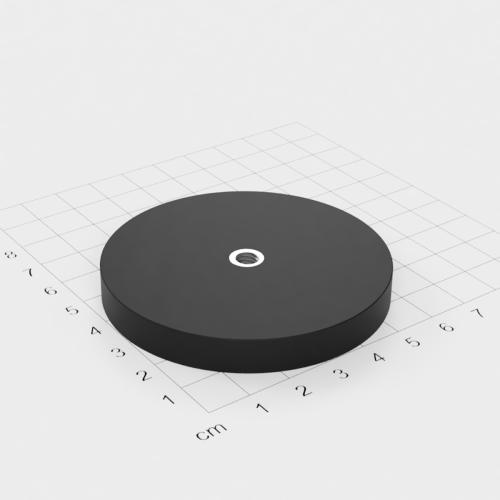Magnetsystem mit Innengewinde, D=66mm, H=8.5mm, gummiert, Grade N35, Gewinde M6