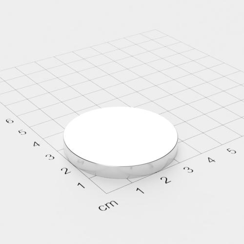 Neodym Scheibenmagnet, 40x5mm, vernickelt, Grade N45