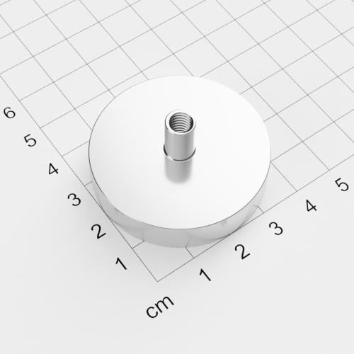 Topfmagnet mit Innengewinde, D=42mm, H=9mm, vernickelt, Grade N35, Gewinde M6
