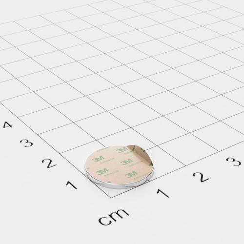 Neodym Scheibenmagnet, 15x1.2mm, vernickelt, selbstklebend, Grade N48 - Anziehend