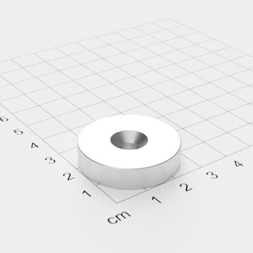 Neodym Scheibenmagnet mit Bohrung und Senkung, 30x7mm, 5.5mm Bohrung, vernickelt, Grade N45