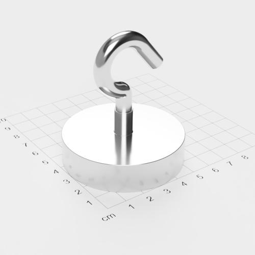Topfmagnet mit Haken, D=60 mm, H=15 mm, vernickelt, Grade N38, Gewinde M8