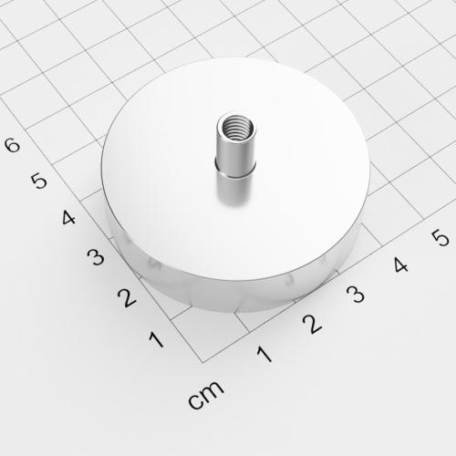 Topfmagnet mit Innengewinde, D=48mm, H=12mm, vernickelt, Grade N38, Gewinde M6
