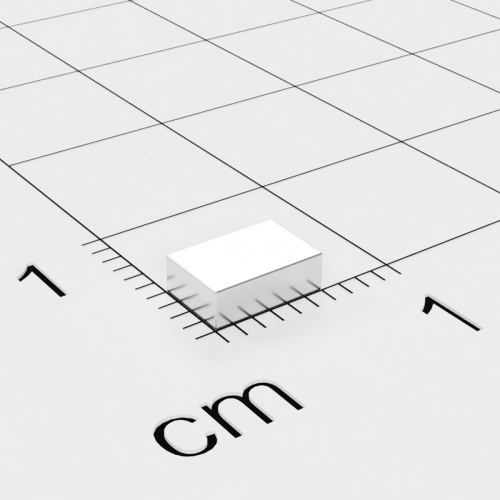 Neodym Quadermagnet, 6x4x2mm, vernickelt, Grade N45