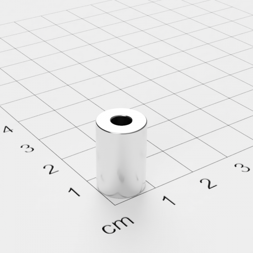 Neodym Ringmagnet, 10x15mm mit 4mm Bohrung, vernickelt, Grade N45