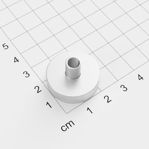 Topfmagnet mit Innengewinde, D=25mm, H=7mm, vernickelt, Grade N38, Gewinde M6