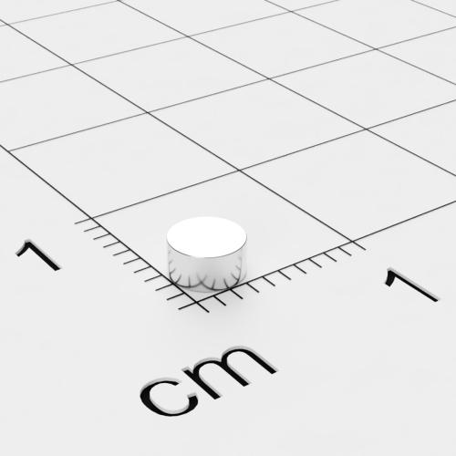 Neodym Scheibenmagnet, 4x2 mm, vernickelt, Grade N45