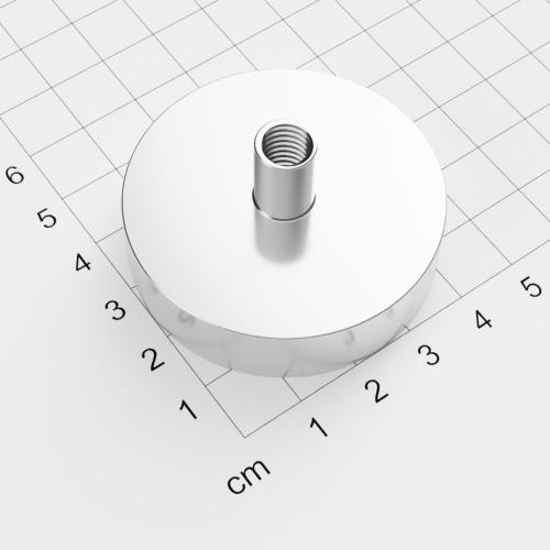 Topfmagnet mit Innengewinde, D=48mm, H=12mm, vernickelt, Grade N38, Gewinde M8