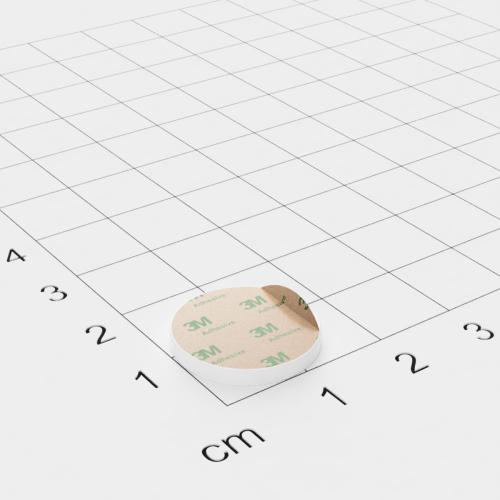 Metallscheibe in Weiß 16x2mm selbstklebend 3M-Haftgrund