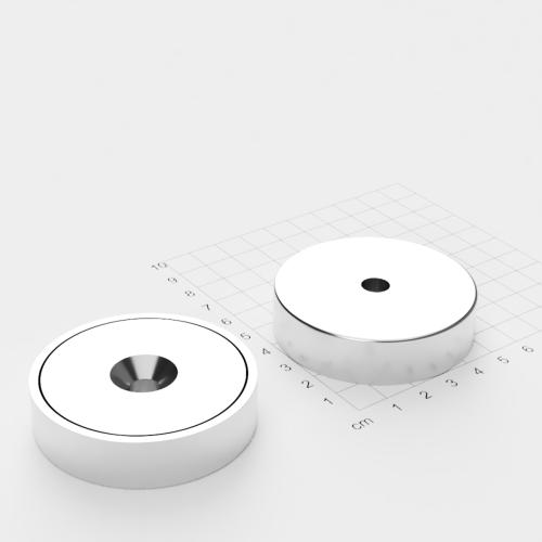 Topfmagnet mit Bohrung und Senkung, 60x15mm, Bohrung 8.5mm, vernickelt, Grade N42