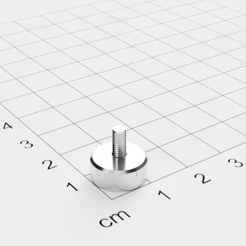 Topfmagnet mit Außengewinde, D=12mm, H=5mm, vernickelt, Grade N35, Gewinde M3