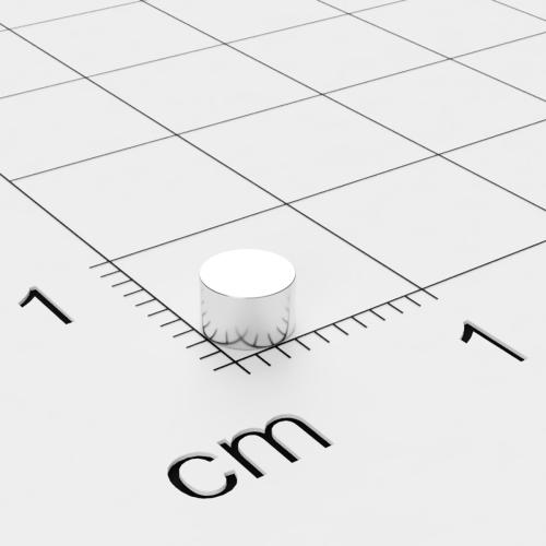 Neodym Scheibenmagnet, 4x2.5mm, vernickelt, Grade N35H, bis 120°C