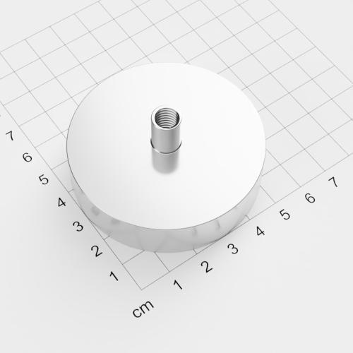 Topfmagnet mit Innengewinde, D=60mm, H=15mm, vernickelt, Grade N38, Gewinde M8
