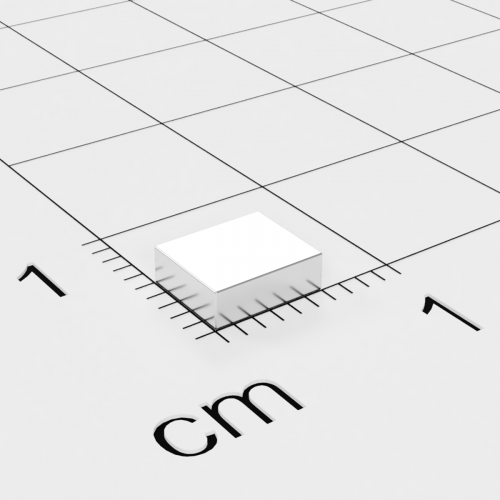 Neodym Quadermagnet, 6x5x2mm, vernickelt, Grade N48H, bis 120°C