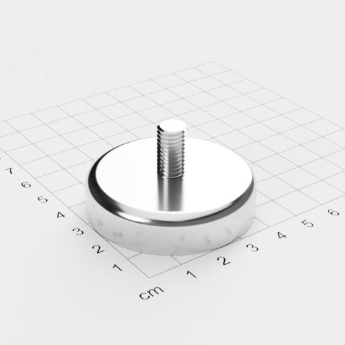 Topfmagnet mit Außengewinde, D=48mm, H=11.5mm, vernickelt, Grade N42, Gewinde M8