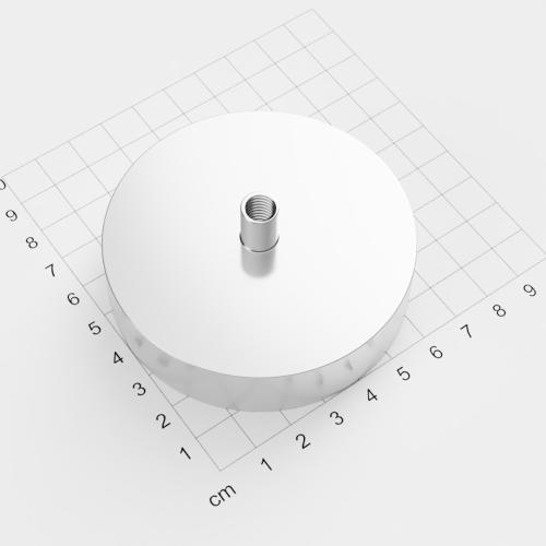 Topfmagnet mit Innengewinde, D=75mm, H=18mm, vernickelt, Grade N38, Gewinde M8