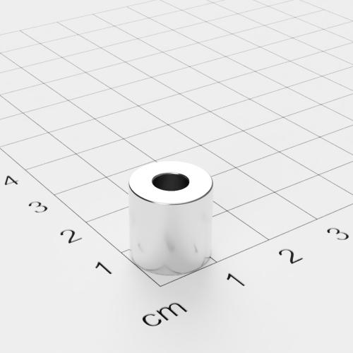 Neodym Ringmagnet, 12x12mm mit 5mm Bohrung, vernickelt, Grade N42
