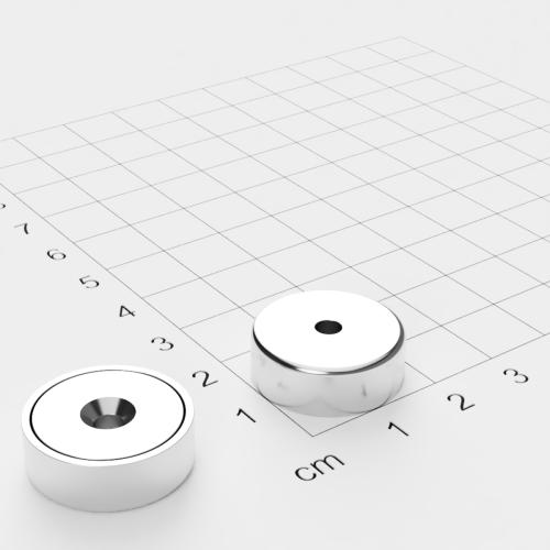 Topfmagnet mit Bohrung und Senkung, 20x7mm, Bohrung 3.5mm, vernickelt, Grade N35