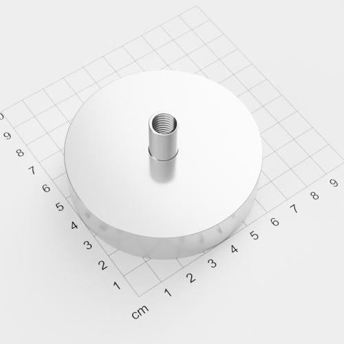 Topfmagnet mit Innengewinde, D=75mm, H=18mm, vernickelt, Grade N38, Gewinde M10