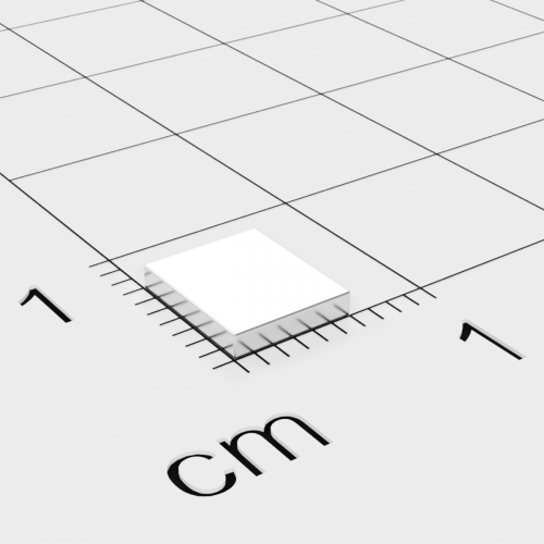 Neodym Quadermagnet, 6x7x1.2mm, vernickelt, Grade N45