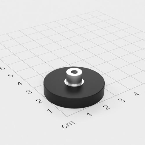 Magnetsystem mit Buchse und Innengewinde, D=31mm, H=6mm, gummiert, Grade N35, Gewinde M4