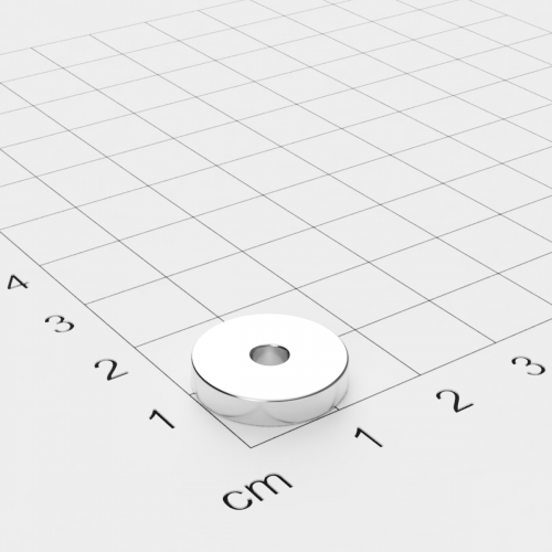 Neodym Ringmagnet, 15x3mm mit 3,5mm Bohrung, vernickelt, Grade N45