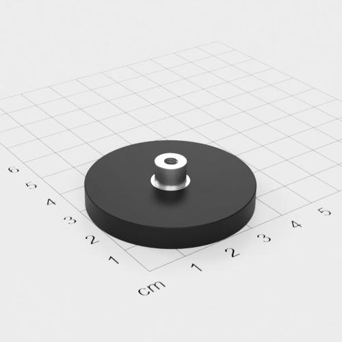 Magnetsystem mit Buchse und Innengewinde, D=43mm, H=6mm, gummiert, Grade N35, Gewinde M4
