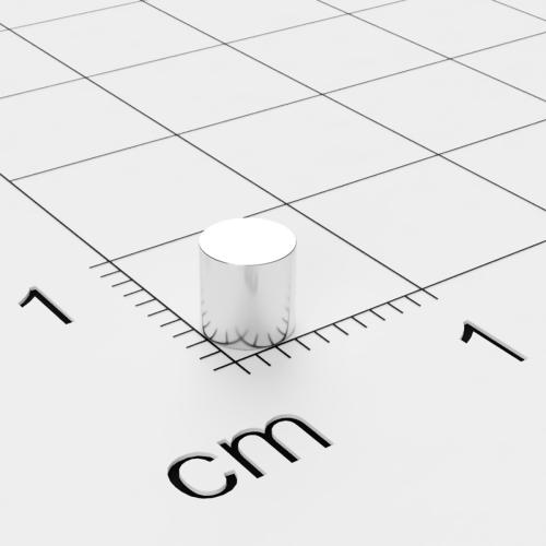 Neodym Scheibenmagnet, 4x4mm, vernickelt, Grade N35SH diametral magnetisiert bis 150°C