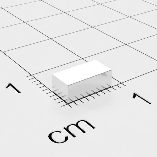 Neodym Quadermagnet, 8x4x3mm, vernickelt, Grade N45
