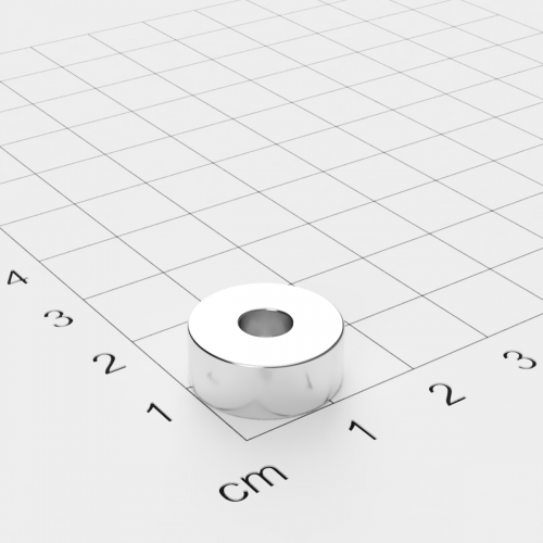 Neodym Ringmagnet, 15x6mm mit 5mm Bohrung, vernickelt, Grade N45