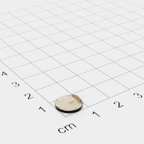 Neodym Scheibenmagnet, 10x1mm, schwarz, vernickelt, selbstklebend, Grade N45