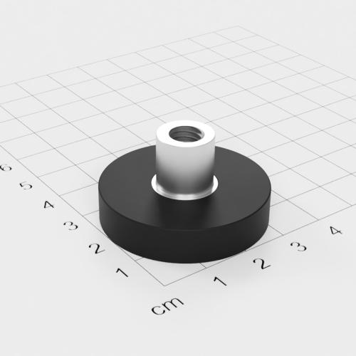Magnetsystem mit Buchse und Innengewinde, D=36mm, H=8mm, gummiert, Grade N35, Gewinde M8