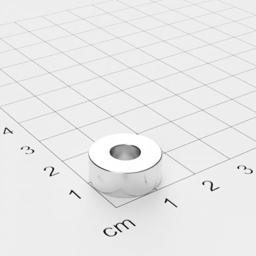 Neodym Ringmagnet, 15x6mm mit 6mm Bohrung, vernickelt, Grade N45