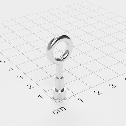 Topfmagnet mit Öse, D=6 mm, H=4,5 mm, vernickelt, Grade N38, Gewinde M3