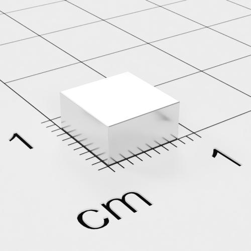 Neodym Quadermagnet, 8x8x4mm, vernickelt, Grade N45